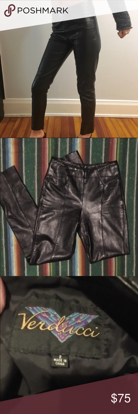 """100% Leather Vintage Skinny Pants AMAZING buttery-soft 100% leather vintage Verducci pants. Skinny fit, very tight and formfitting. Zipper in the back. The lining is 100% nylon and makes them very comfortable, but they are 100% leather so don't expect to be able to do the splits in them :)  The tag says size 2, which translates to a modern 00.  ***   ***   *** Measurements: Waist- 24/25"""" Hips- 35/36"""" Rise- 10.5"""" Inseam- 30"""" Vintage Pants Skinny"""