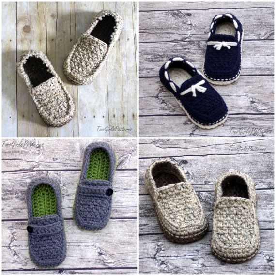 CROCHET PATTERN #122 - Mens Loafer Pack - Four variations included ...