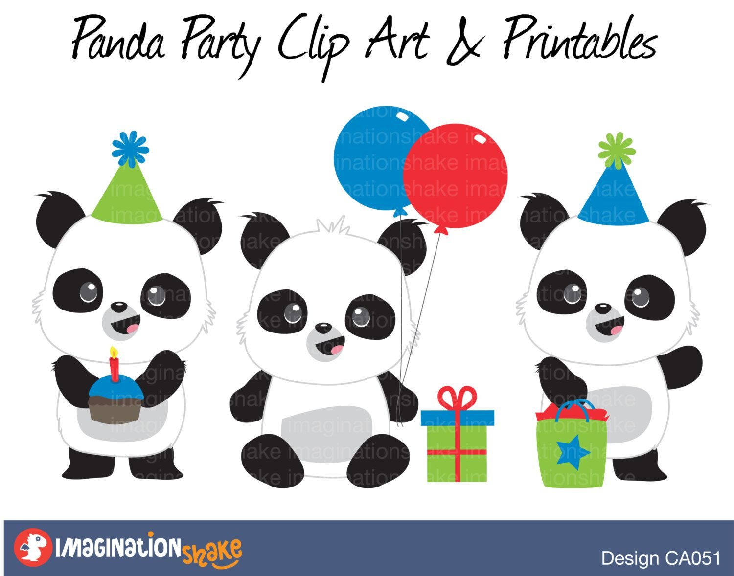 Panda Party Clip Art Printables Set Ca051 Clipart Panda Wall Decorations Panda Printable Panda Party Red An Panda Party Diy Birthday Gifts Clip Art