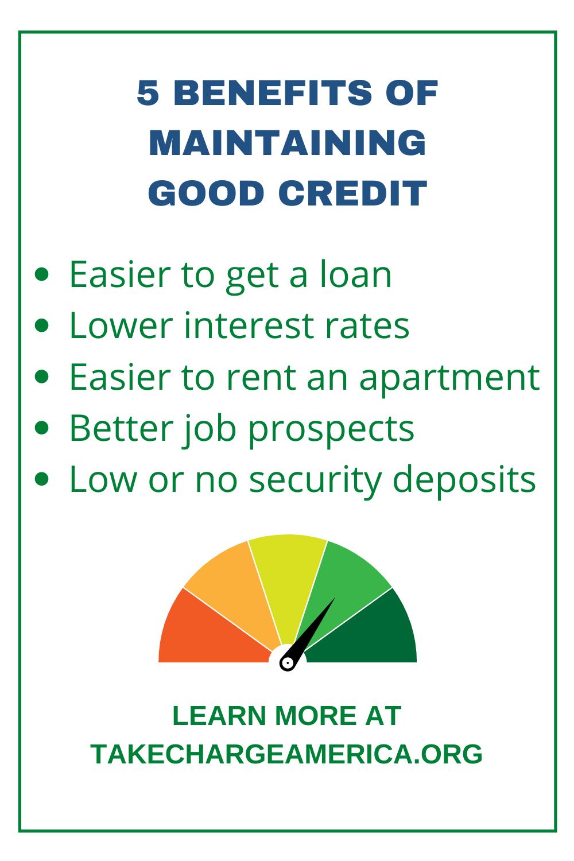 5 Benefits Of Maintaining Good Credit Good Credit Financial Education Good Credit Score