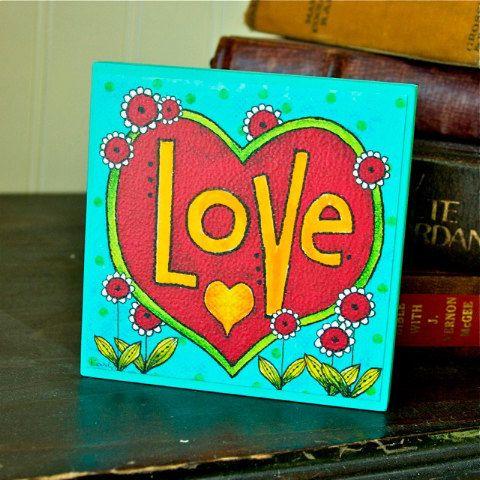 LOVE - Art Block - Inspirational - Stackable - Wall Decor- 4x4