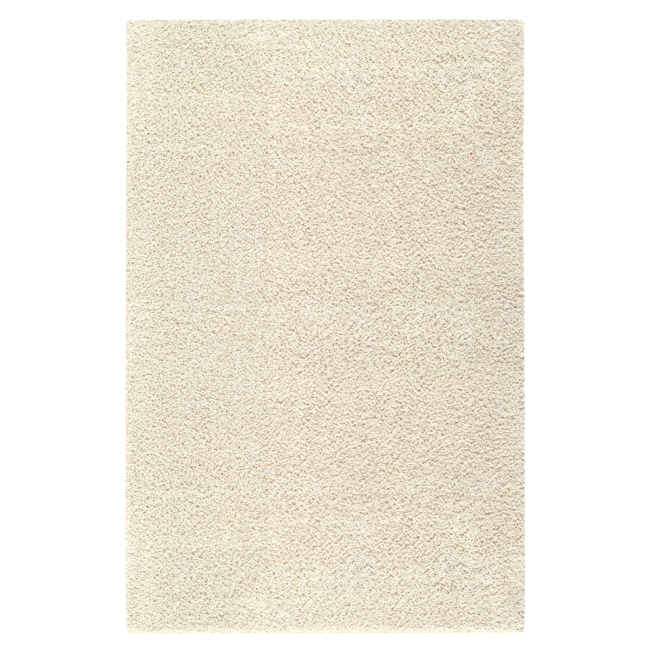 this plush shag rug is enhanced with a warm beige hue. with a