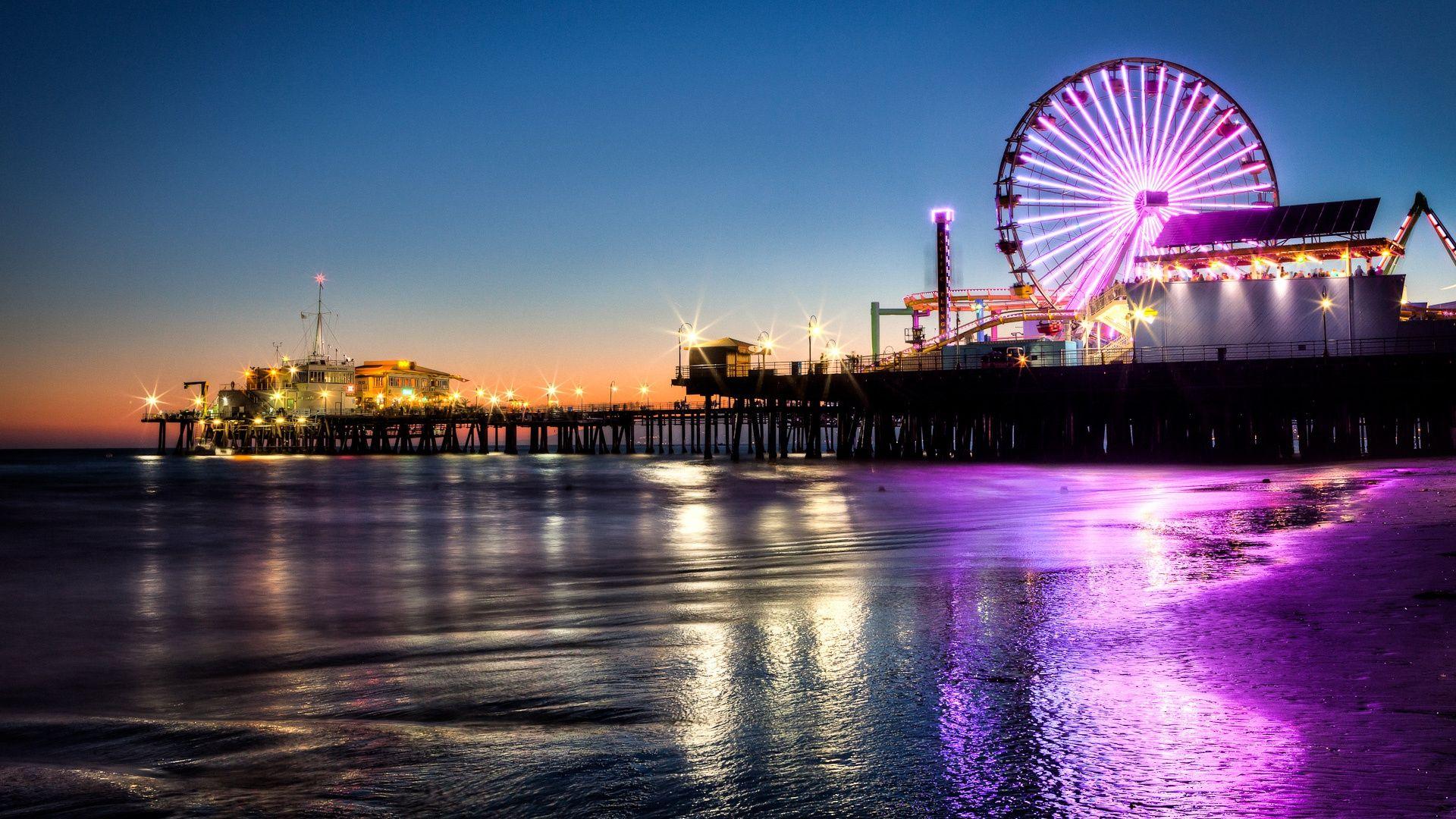 34 Fondos Hd Para Tu Pc Playa De Noche Santa Monica Los