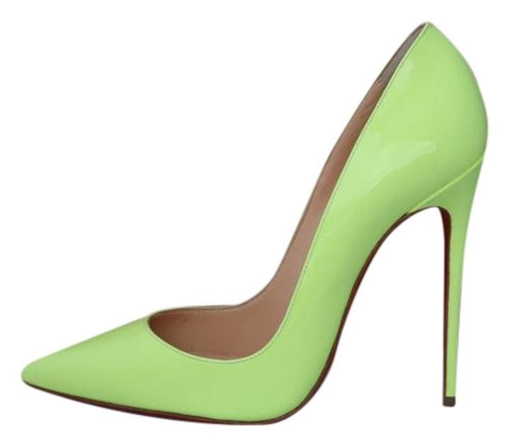 CHRISTIAN LOUBOUTIN SO KATE 120 PIGALLE NEON YELLOW PATENT PUMPS SHOES 83a9f2dc02fad
