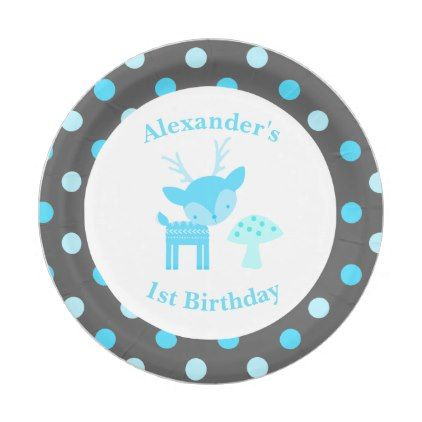 Blue deer polka dot birthday paper plate baby birthday sweet gift blue deer polka dot birthday paper plate baby birthday sweet gift idea special customize personalize negle Gallery