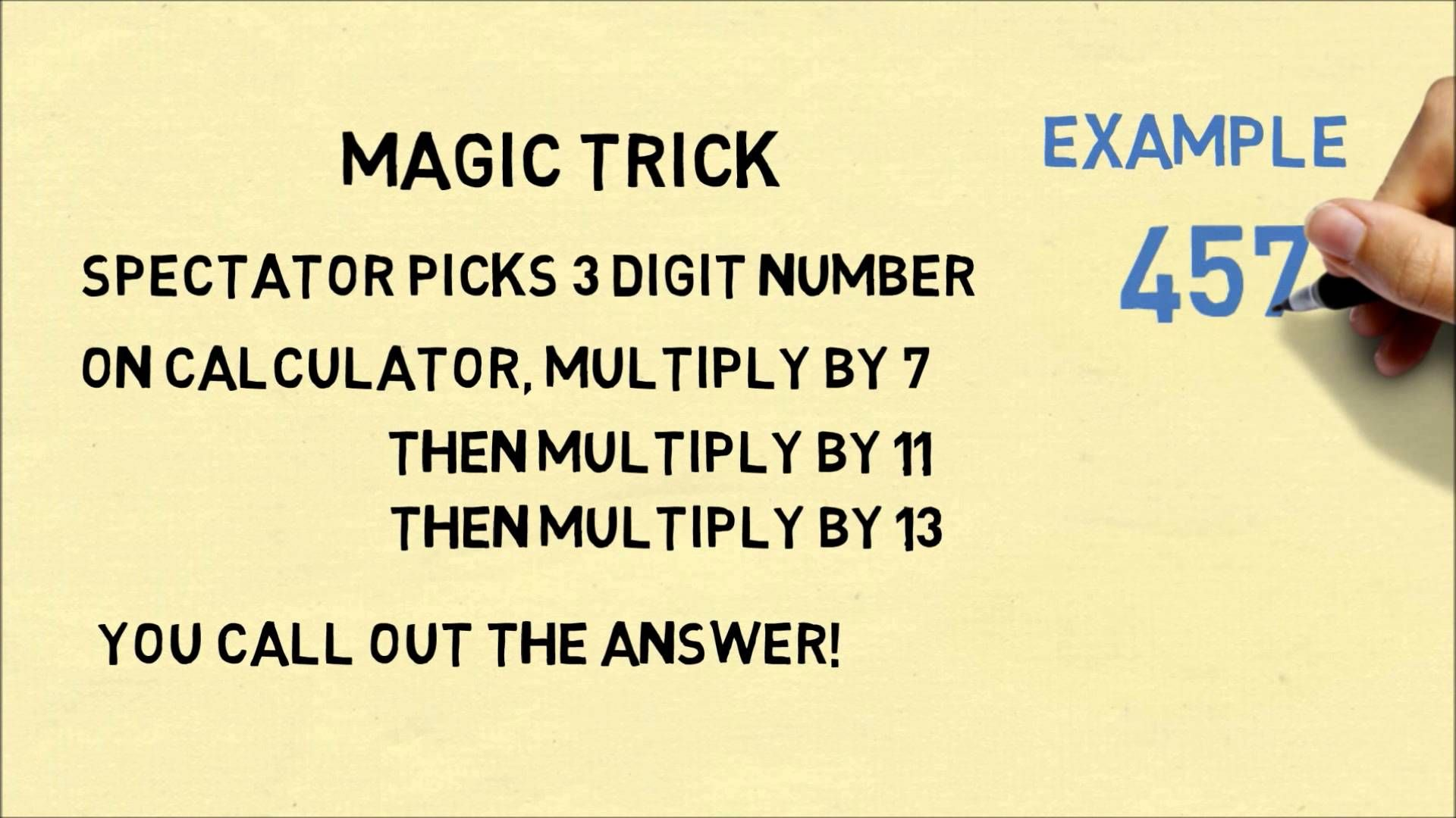 Ask a spectator to pick any 3-digit number  On a calculator