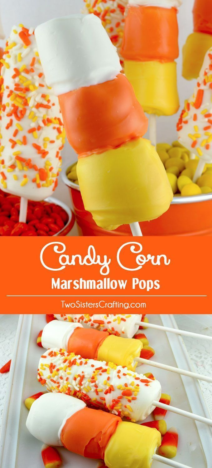 Candy Corn Marshmallow Pops - Two Sisters