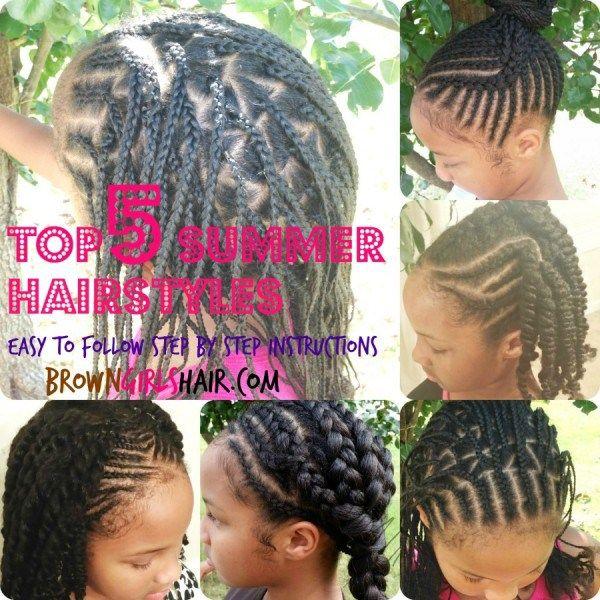 Brown Girls Style Natural Hair Box Braids Cornrows Natural Hair Kids Hairstyles