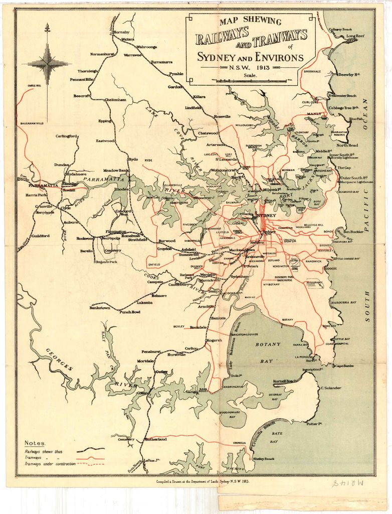 M2148 Railways And Tramways Map Of Sydney And Environs Nsw 1913 Map Old Maps Botany Bay