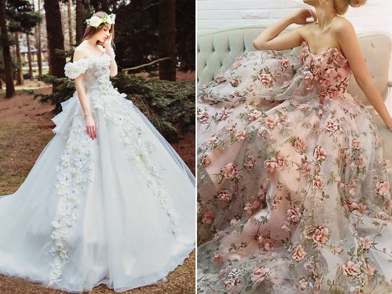 bfd00d252297 Wedding dresses with 3D appliqués are not necessarily new, but they are  definitely a big hit. Three-dimensional blooming details breath fresh air  into dress ...