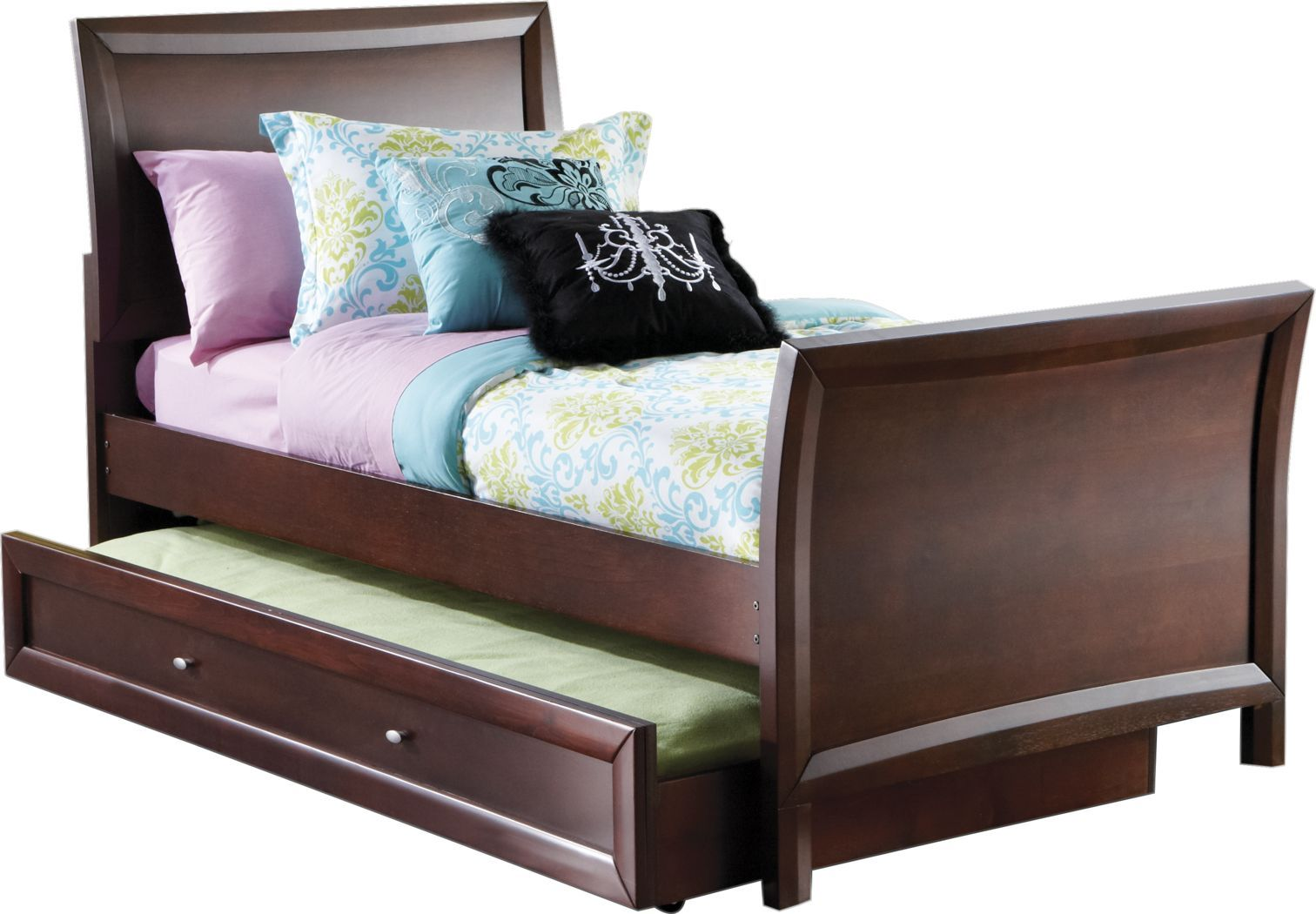 Kids Ivy League Cherry 4 Pc Twin Sleigh Bed W Trundle Kid Beds