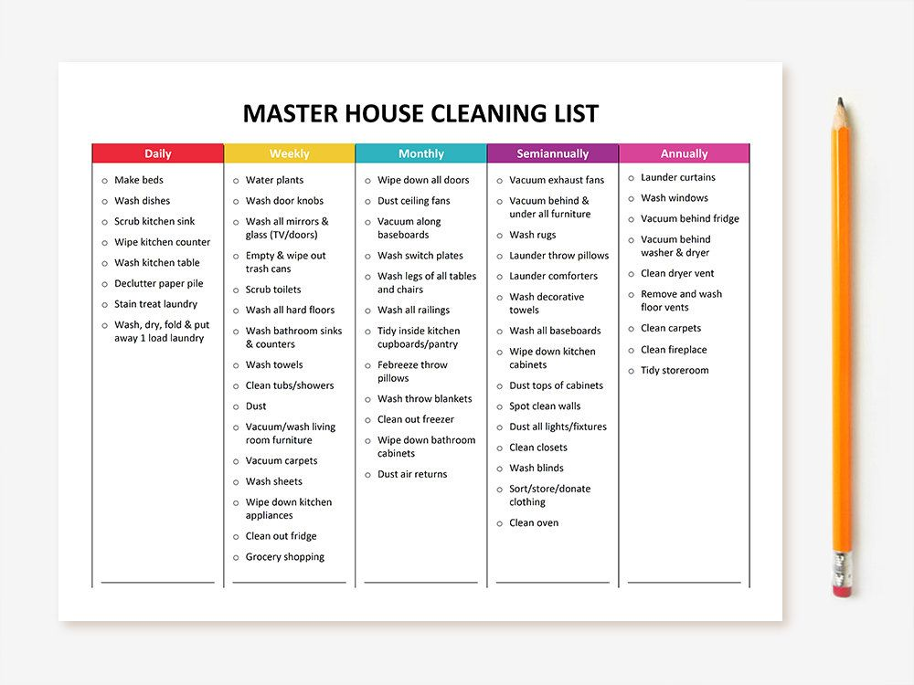 Printable Master House Cleaning List House, Etsy and Organizing