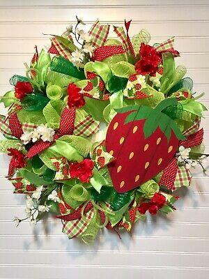 Photo of Deco Mesh Spring Wreath, Summer Wreath , Front Door Wreath, Strawberry Red Green  | eBay
