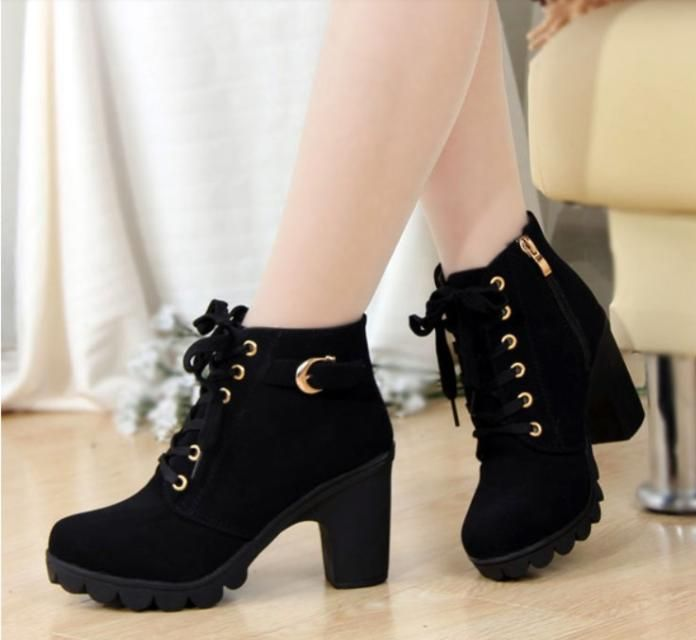 Women's Cool Ankle Chains Chunky High Martin Boots