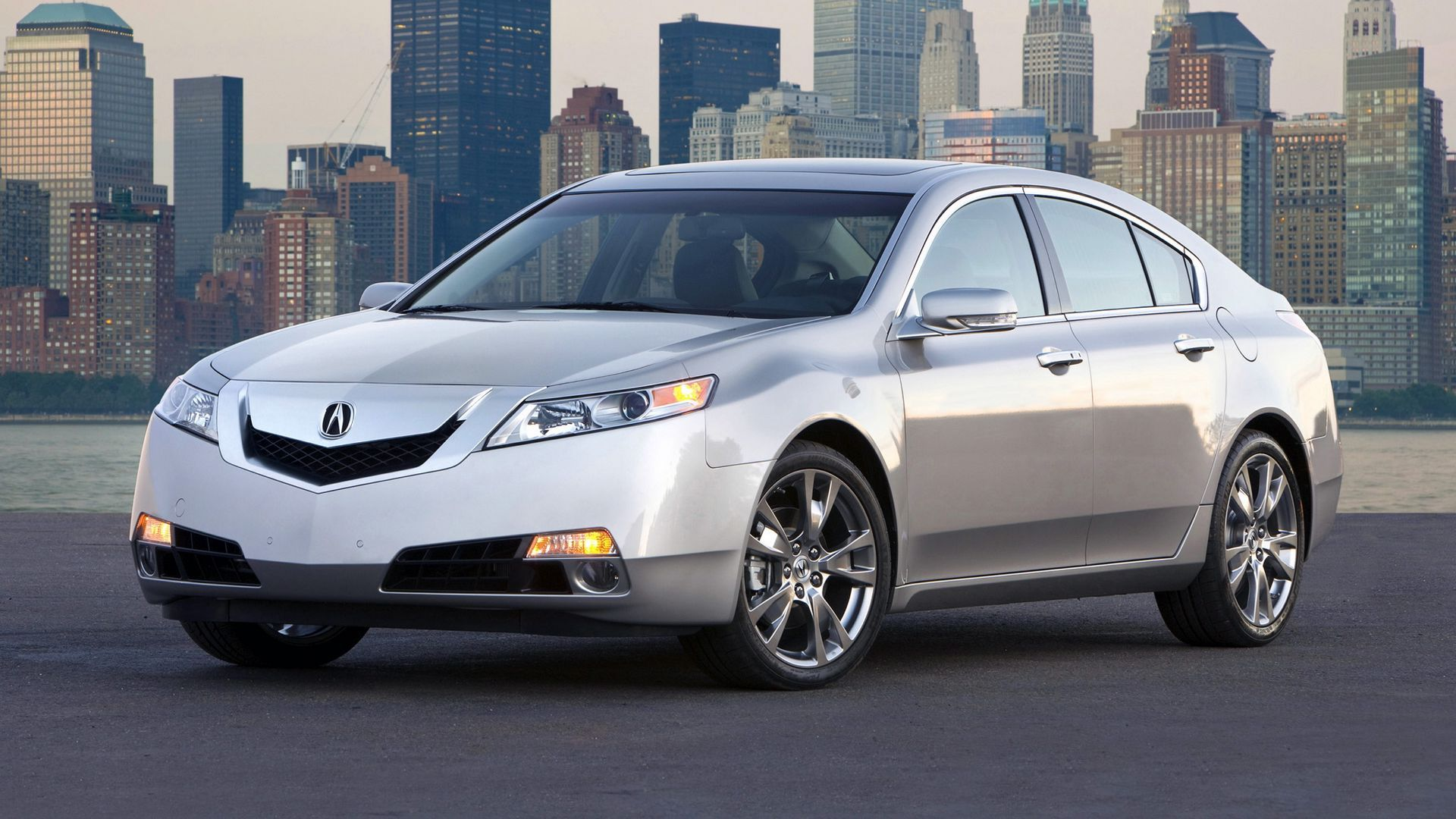 Wallpaper Silver Metallic Cars City Acura Water 2008 Front View Style Tl