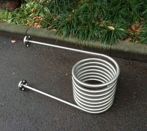 Coil heat exchanger for wood fired hot tub with flange - Homemade swimming pool heat exchanger ...