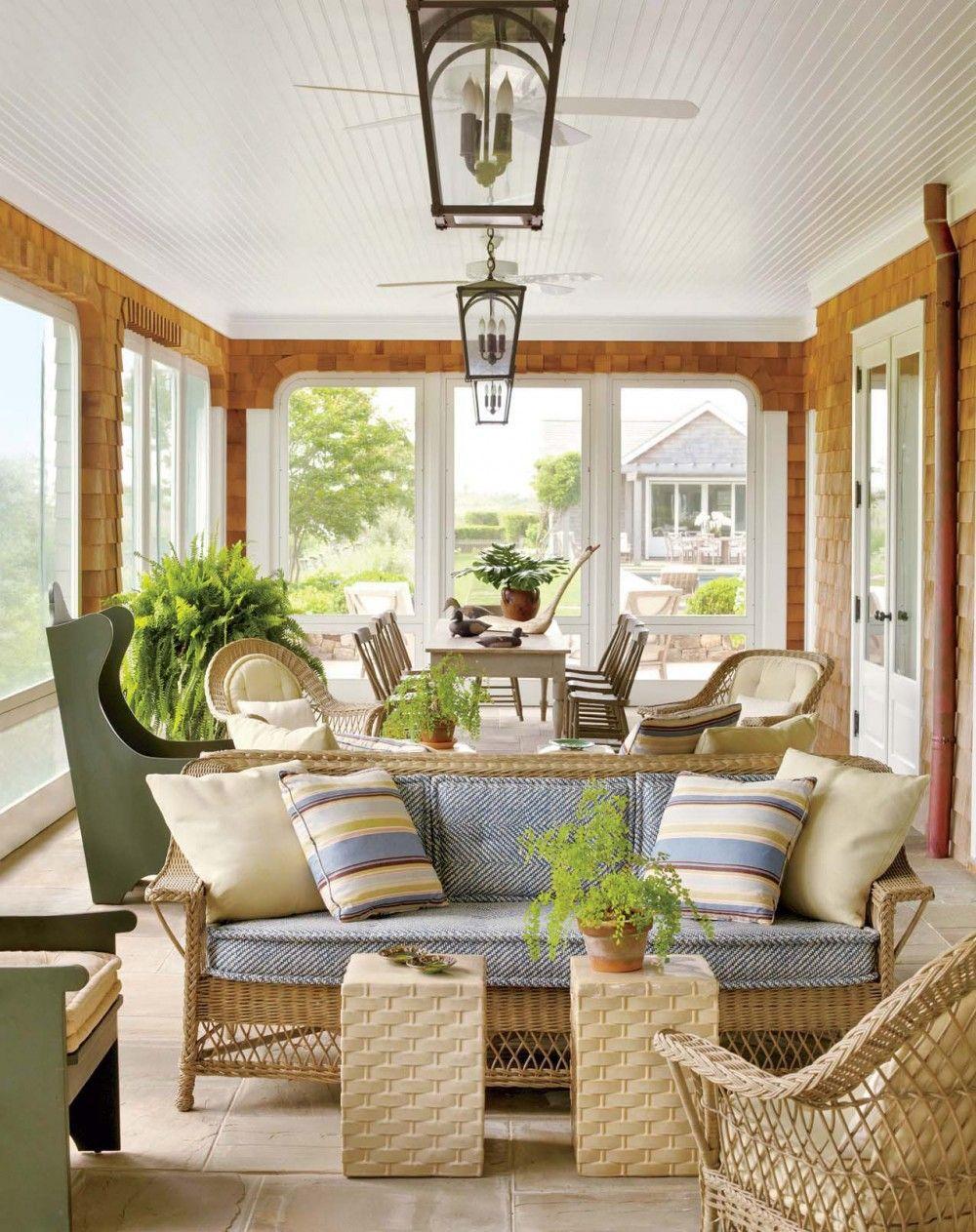 Contemporary Porch Porches de casas, Casa de verano