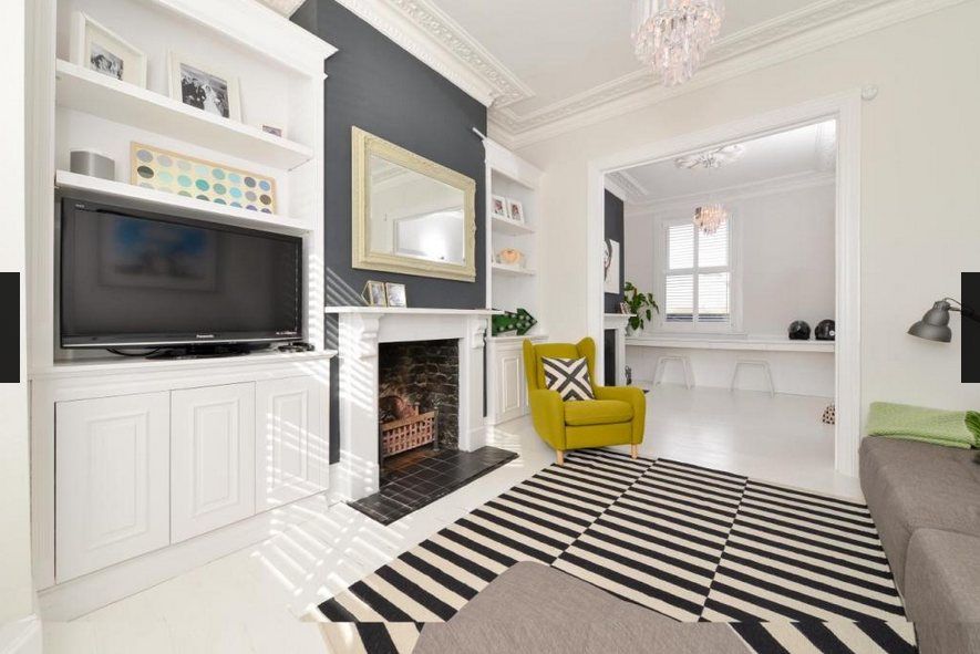 Living Room Ideas Victorian Terrace white floorboards, corner sofa, modern black and white rug, grey