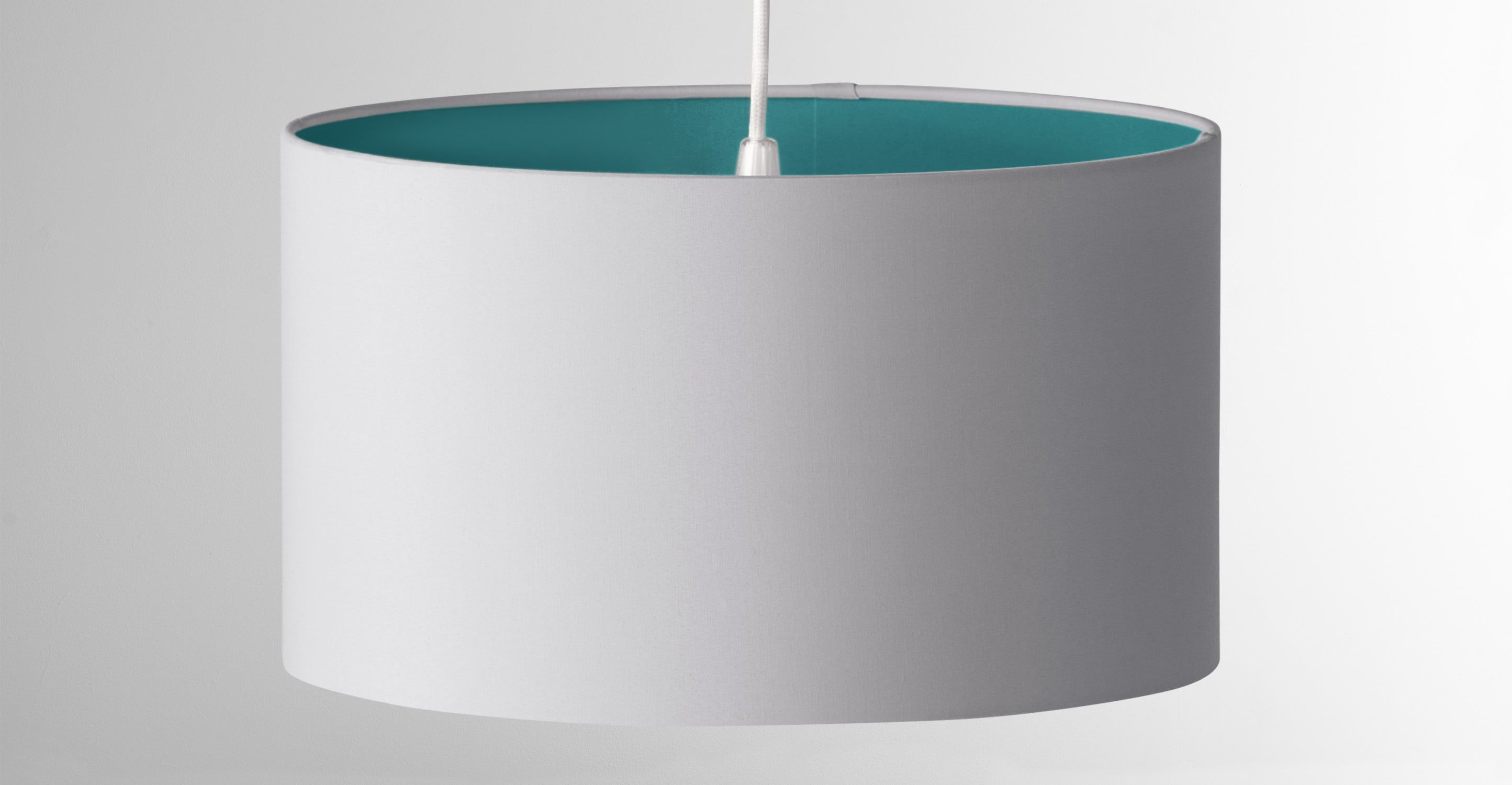 made small shade, teal & grey. express delivery. cotton. may lamp