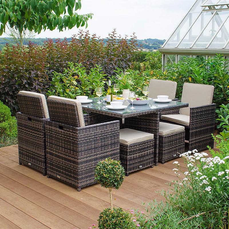 Nova Lyon 4 Seat Deluxe Cube Set With Footstools 900 Build Maintain And Ren In 2020 Rattan Garden Furniture Sets Garden Furniture Sets Rattan Garden Furniture