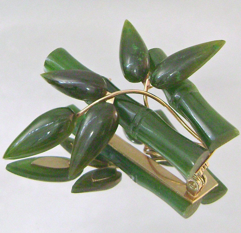 Vintage jade bamboo brooch Vintage brooches, Bamboo