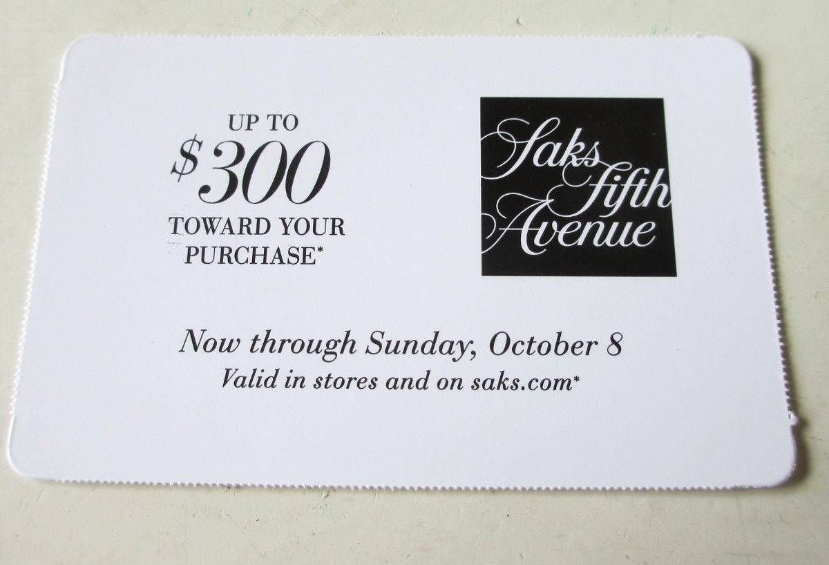 cool Saks Fifth Avenue Coupon As much as 300 Off Buy In