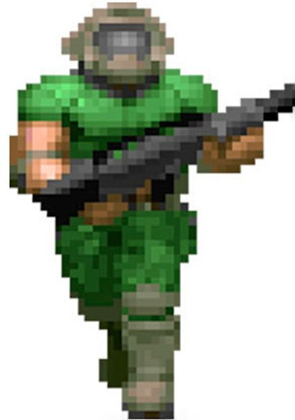 doom guy pixel art grid