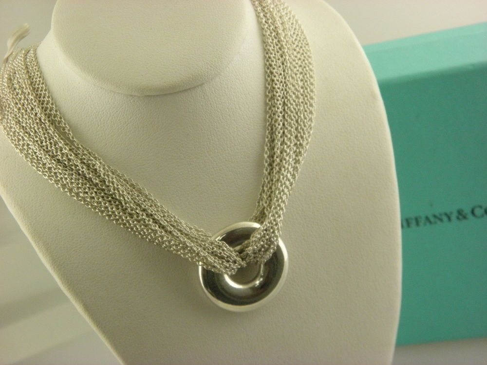 2a9a738d0d3a3 Tiffany & Co Silver Multi Strand Circle Mesh Necklace Pendant Toggle ...