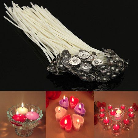 NEW 100pcs 20cm Wax Candle Cotton Wicks with Metal Sustainers