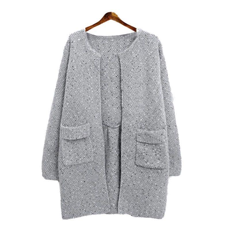 Women Long Sleeve Cardigan Knitted Jacket Winter Sweater Coat Knitwear Overcoat