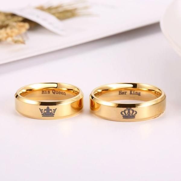 Her King And His Queen Gold Couples Rings In 2019 Jpr Rings For