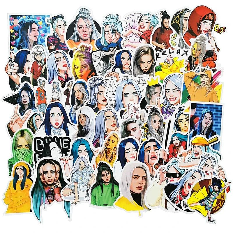 50 Piece Billie Eilish Stickers Thatsmygeek Waterproof Stickers Billie Eilish Billie