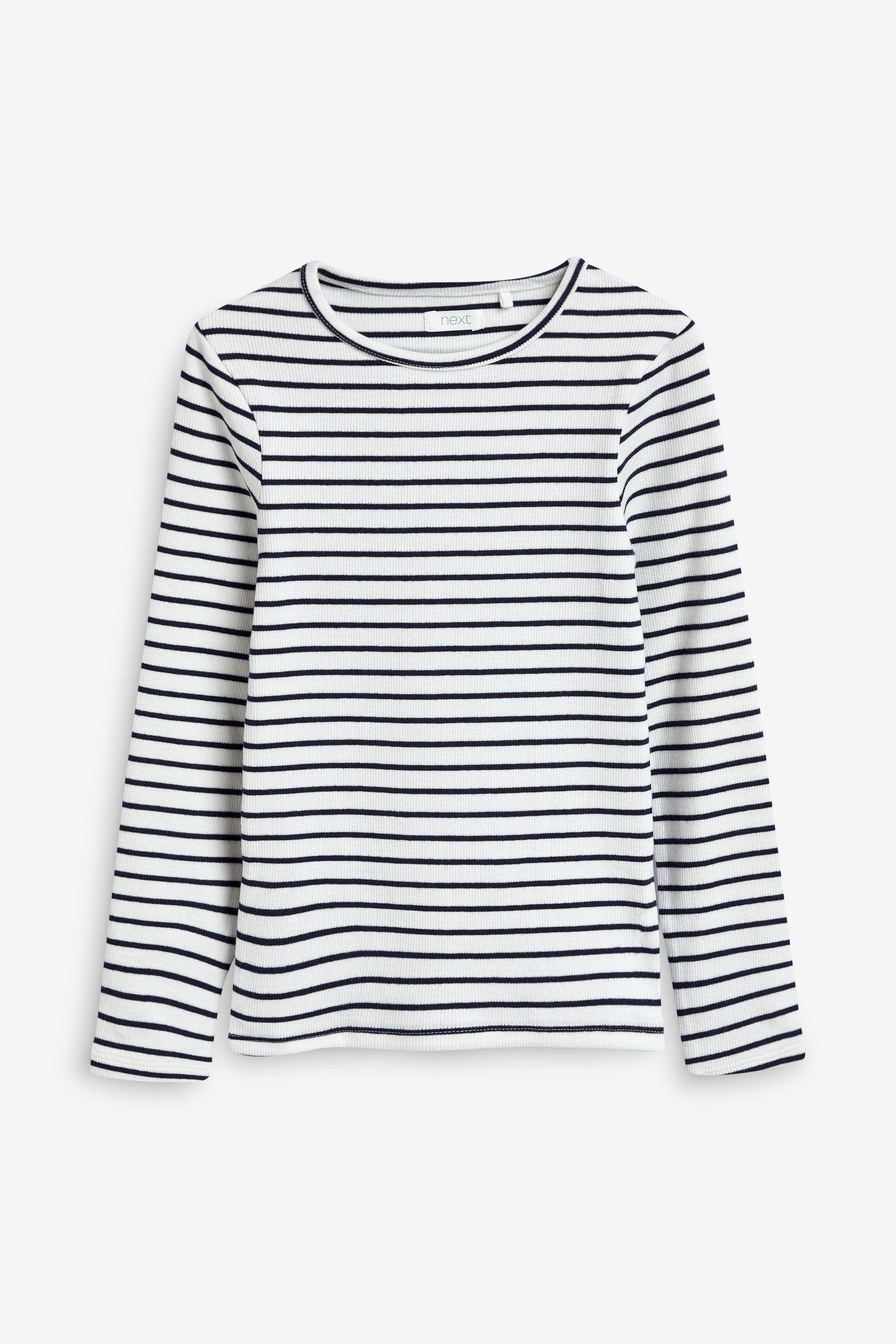 NEXT Ladies Black or Navy White Stripe Long Sleeve T Shirt Top