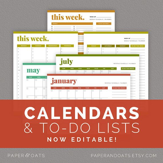 Calendars & To Do Lists  Editable Weekly and by paperandoats, $7.00 -- inspiration to make my own