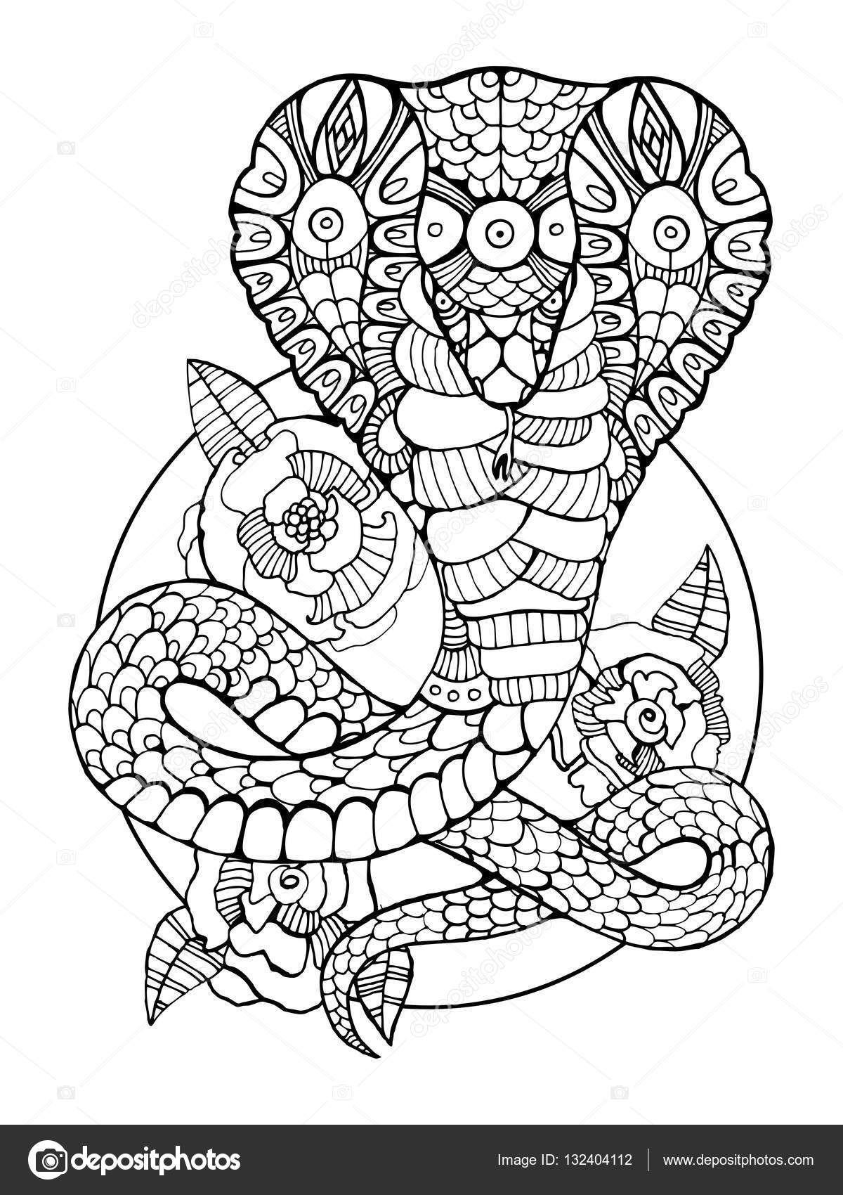 Http St3 Depositphotos Com 5891300 13240 V 1600 Depositphotos 132404112 Stock Illustration Cobra Snak Knizhka Raskraska Raskraski S Zhivotnymi Etnicheskie Uzory