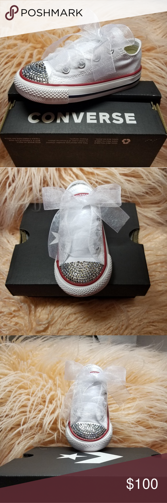 Swarovski Crystal Converse Infant Sz 6 Baby Girls  Toddler Converse Chuck  Taylor OX Casual Shoes 0ed85629a3de