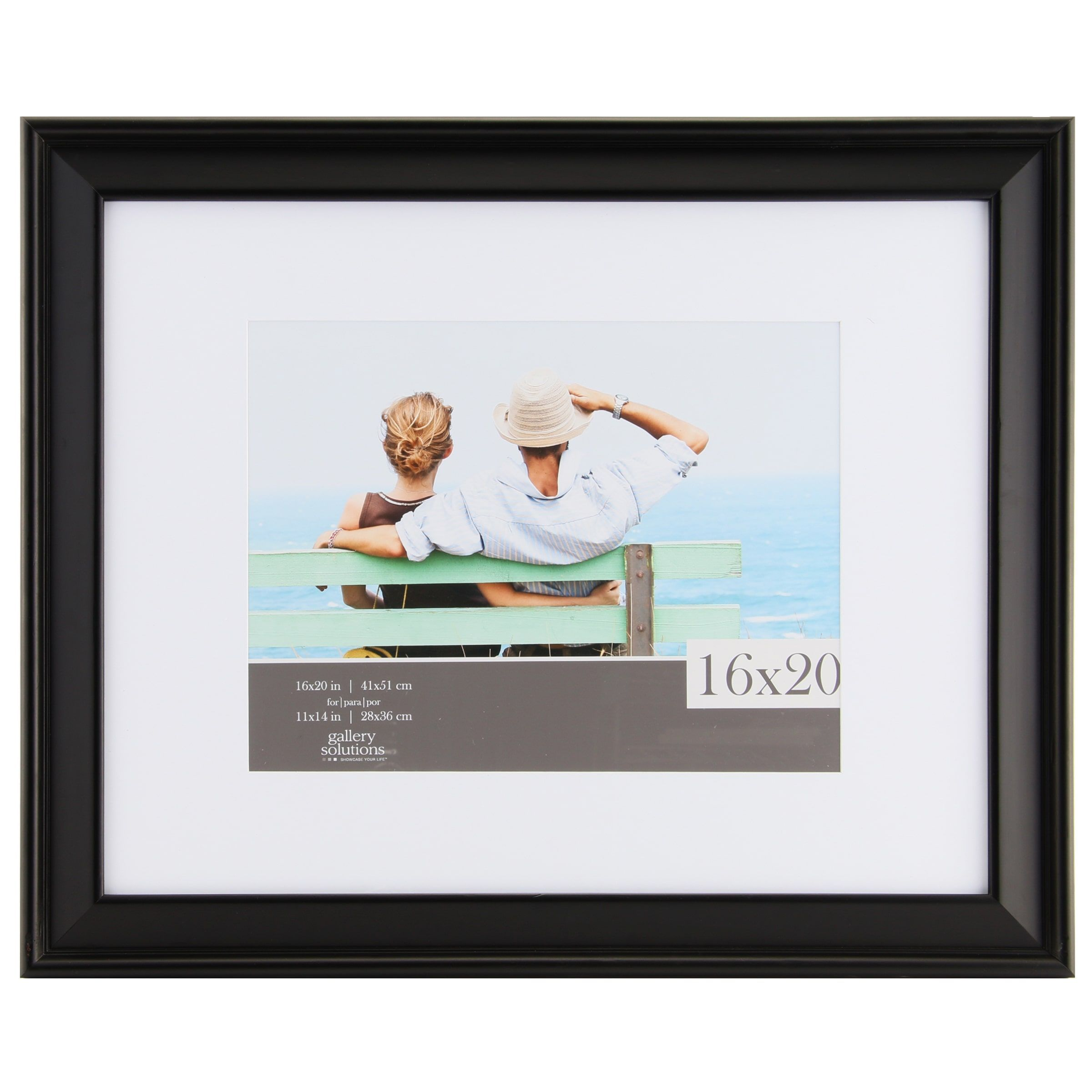 Gallery Solutions Black Wood Matted Photo Frame (11x14/16x20 ...