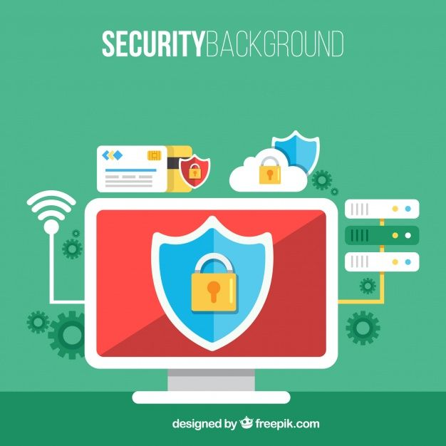 site web pentru reducere obține nou priza de fabrica Security background with computer and other elements in flat ...