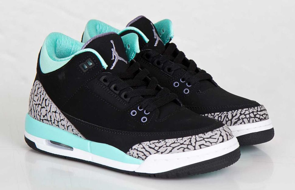 Kid's Nike Air Jordan 3 III Retro (GS) Bleached Turquoise Tiffany Black Sneakers : S100h3093