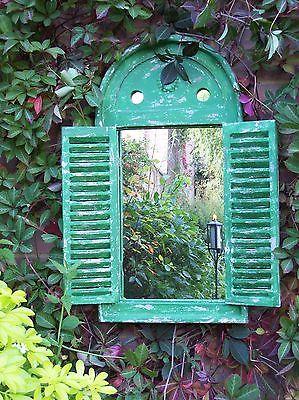 Garden Wall Mirror With Shutters Renaissance Green Outdoor Wooden