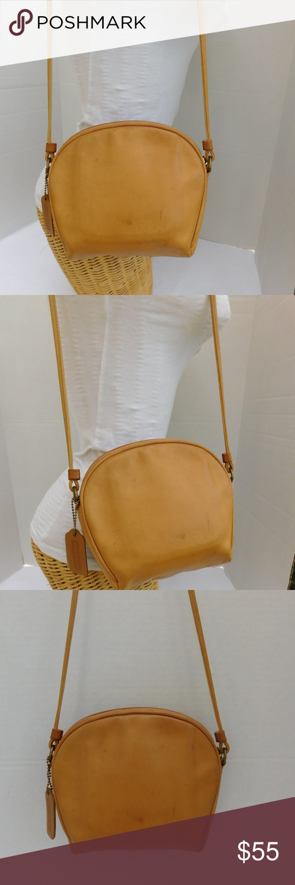 SOLDVintage Coach Small Tan Leather Shoulder Bag