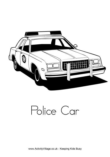 Police Car Colouring Page