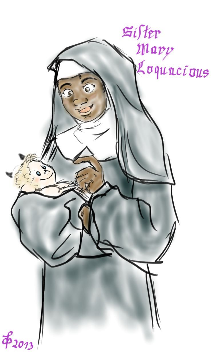 meltingpenguins:  Getting down some Good Omens Headcanons, so have Sister Mary and an iddle-widdle Antichrist.