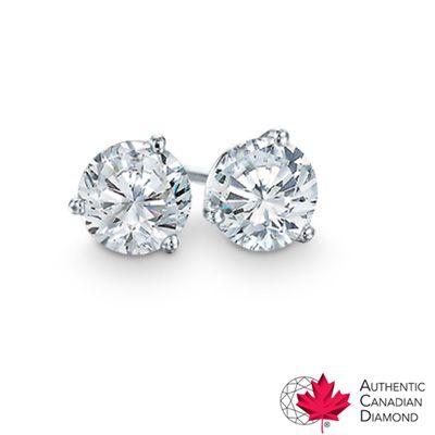 T W Certified Canadian Diamond Solitaire Stud Earrings In 14k White Gold