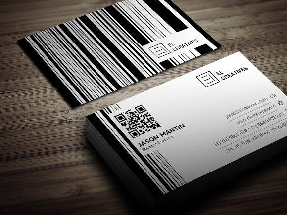 Creative Bar code Business Card by bouncy on @creativemarket