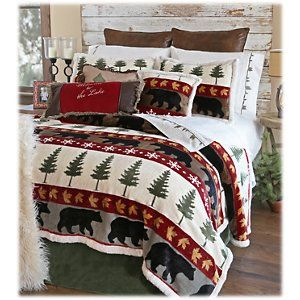 Christmas Comforter.Carstens Inc Tall Pine Bedding Collection Plush Comforter