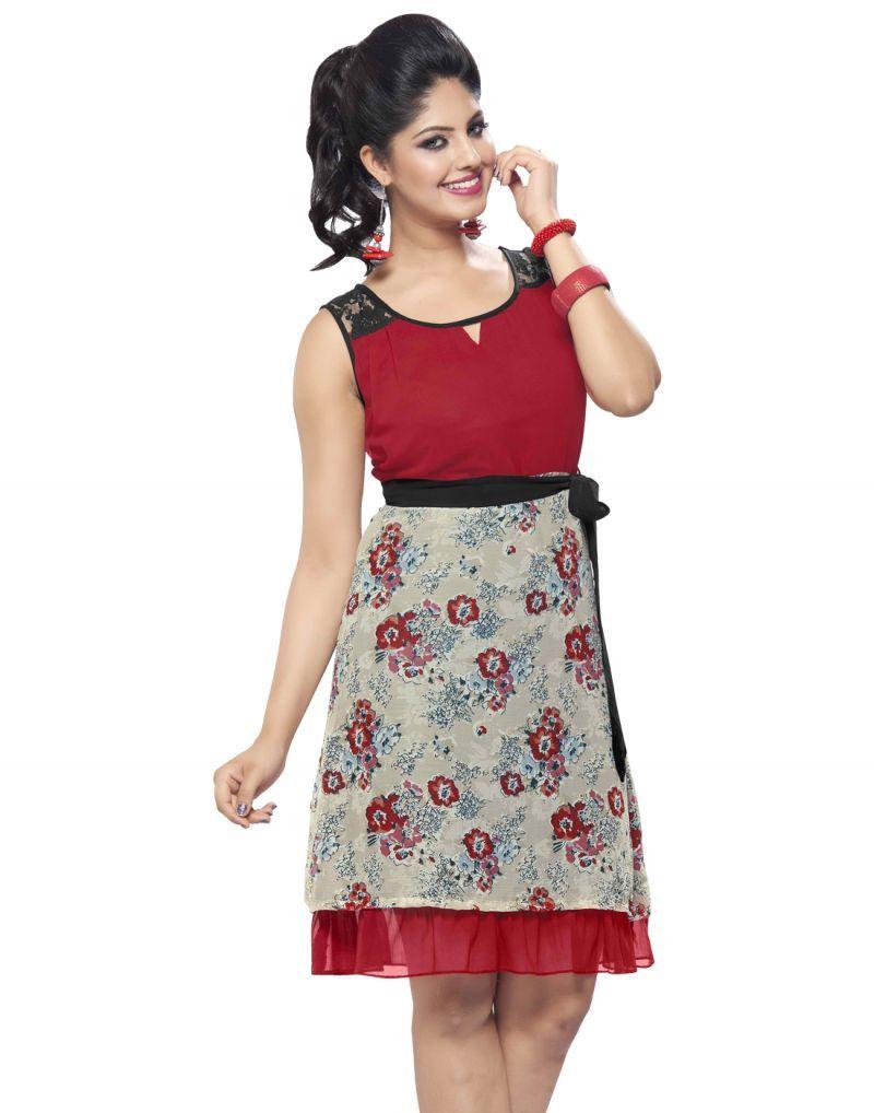 8c0f7008b0 Looking So Attractive Red Color Stylish #Kurti | KURTI DESIGNS ...