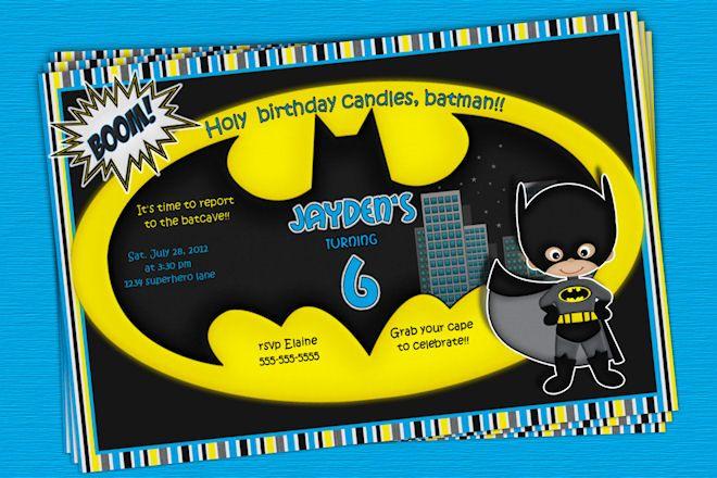 Batman Birthday Invitation Party Custom Printable Superhero Squad