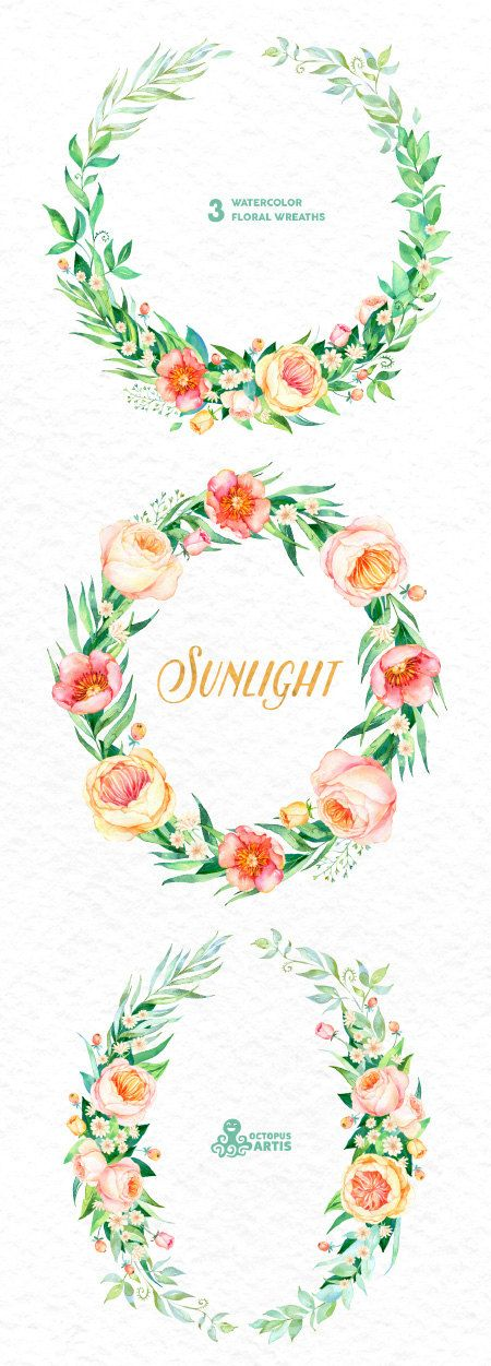 Sunlight: 3 Watercolor Wreaths, frames, popies, roses, floral ...