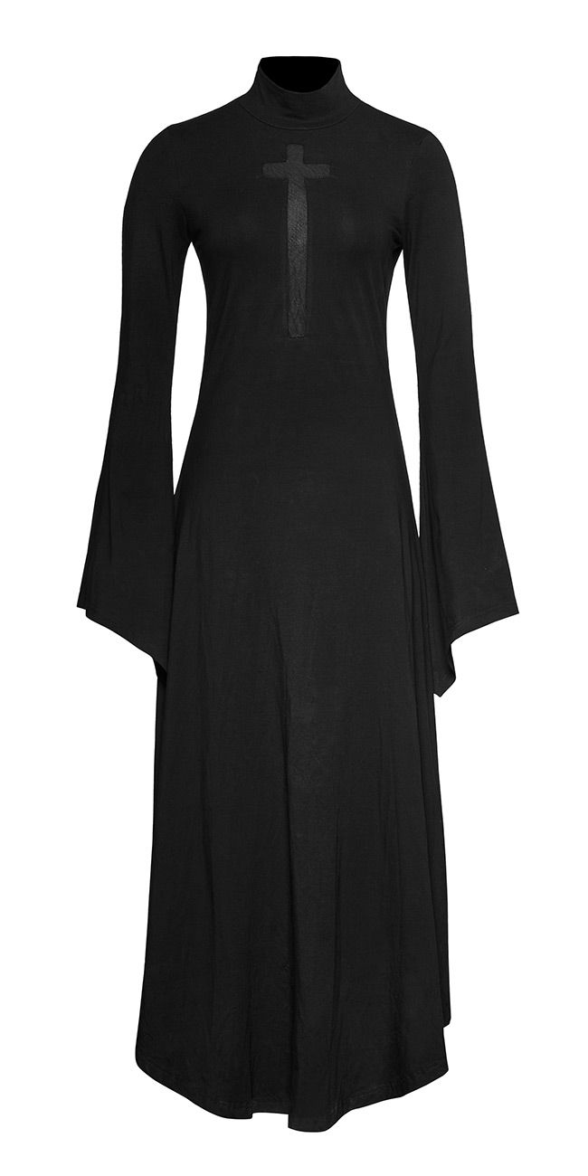 Nouveau produit long black dress with cross flared sleeves and